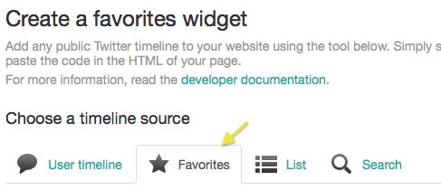 Favorite tweets Twitter widget step 4