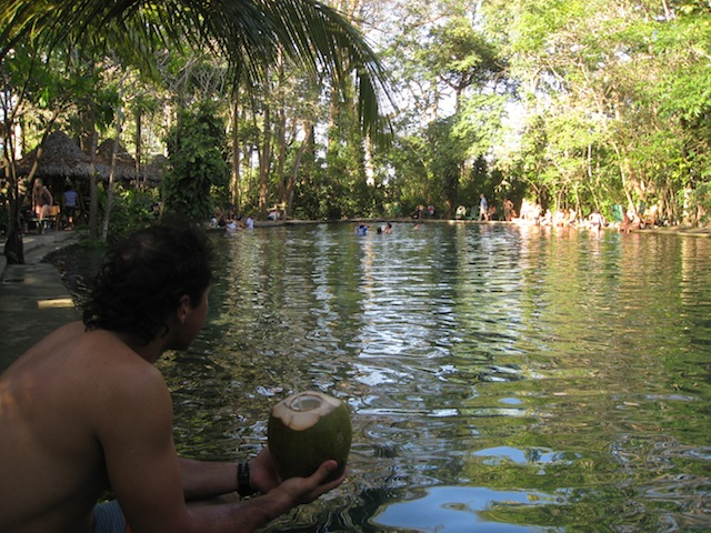 Awesome community business iniative - gorgeous healing pool fed by mineral rick volcanic water and amenities tourists want, like local rum in a fresh coconut of course!