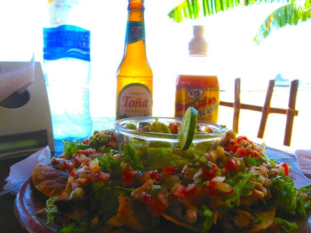 A sign that proclaims the best tacos in Nicaragua doesn't really take a savvy consumer in… except that they actually meant it! Seriously, the best, freshest nachos I've ever had. Loaded with fresh fish and not a speck of cheese.