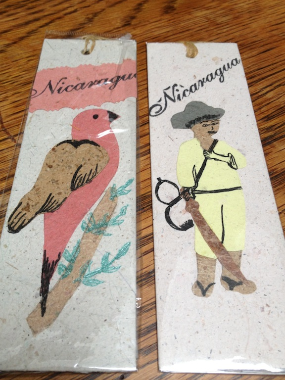 Cafe Luz Y Luna in Esteli is all about integrity and environment sustainability both in the food it serves, how the cafe is run and the businesses and community organizations it supports. Picked up these 2 fab handmade bookmarks from a local entrepreneur that started her own paper making business www.environcards.org