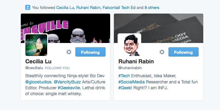 Follow activity in tweets feed