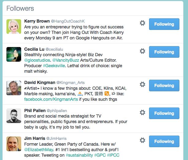 Old Twitter followers list