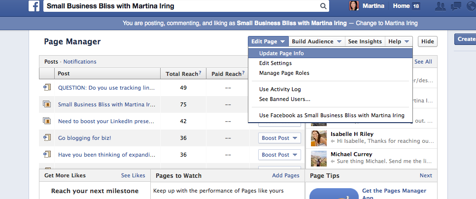 Old Facebook design navigation