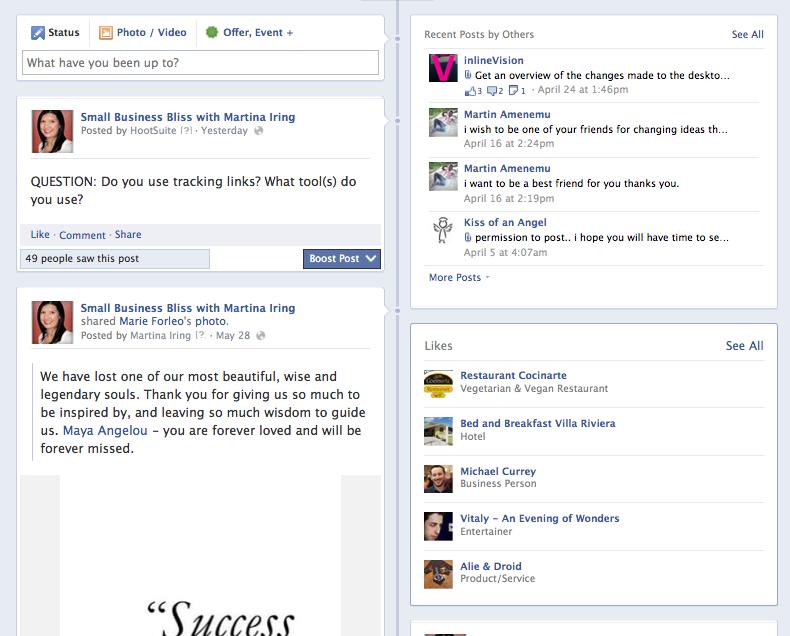 Old Facebook design news feed