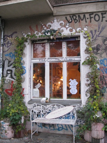 The local graffiti culture in Berlin melds perfectly with a funky clothing shop.