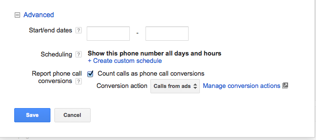 Set up Google Call Extensions